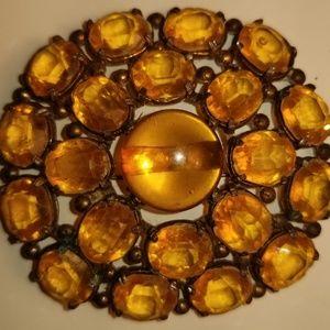 "Vitage Yellow Amber BROOCH Pin 1940's 2"" Round."